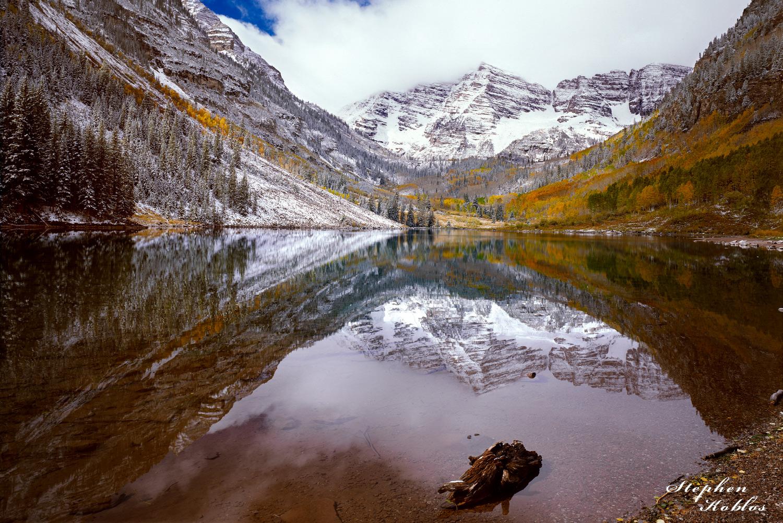 Maroon Bells , autumn ,reflections ,snow, photo