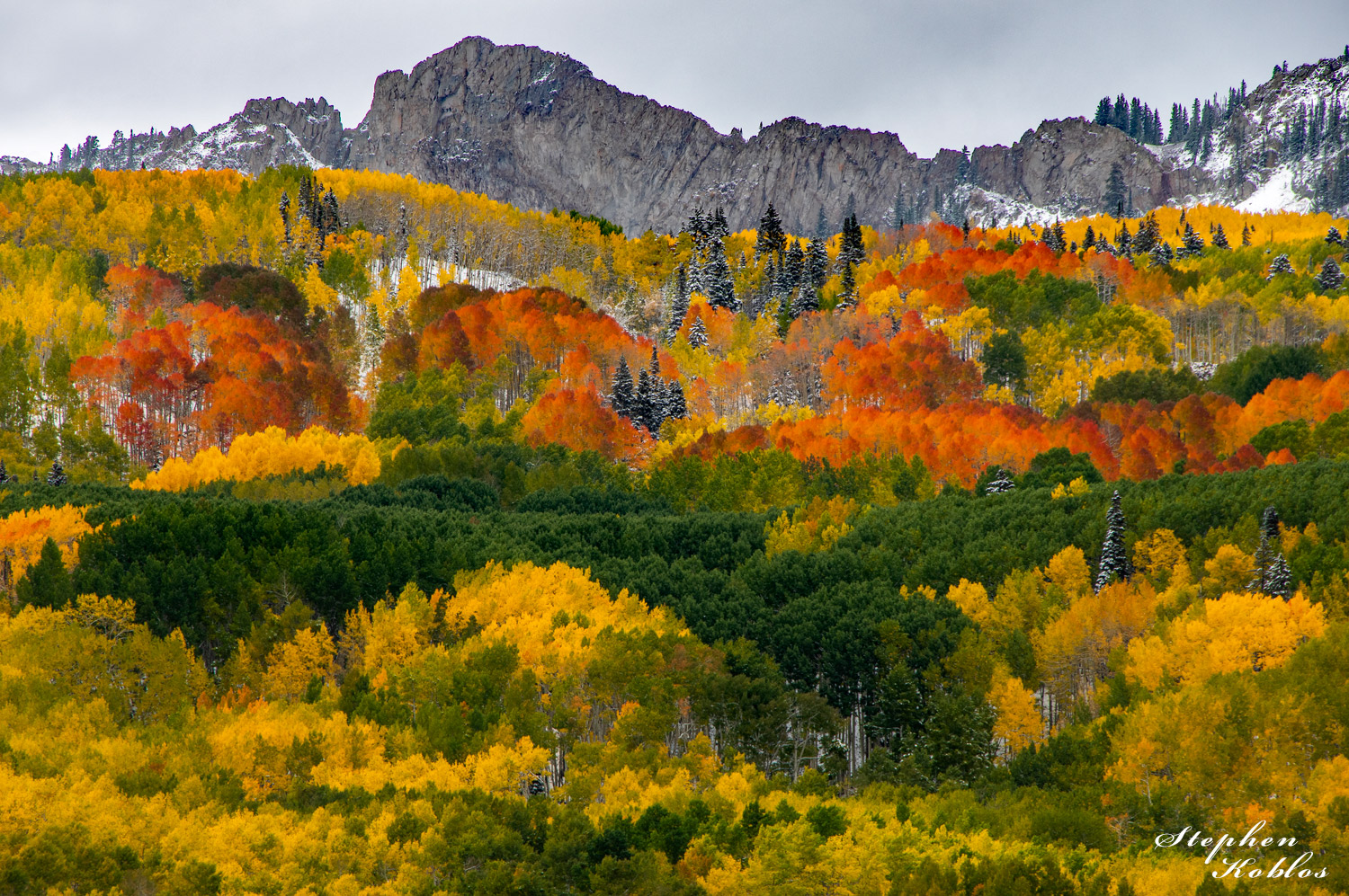This scene shows the different colors aspens can take on.   Limited Edition of 250