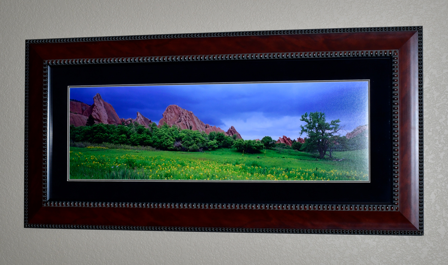 """The photo dimensions are 11""""x35"""". The frame dimensions are 22""""x46""""."""