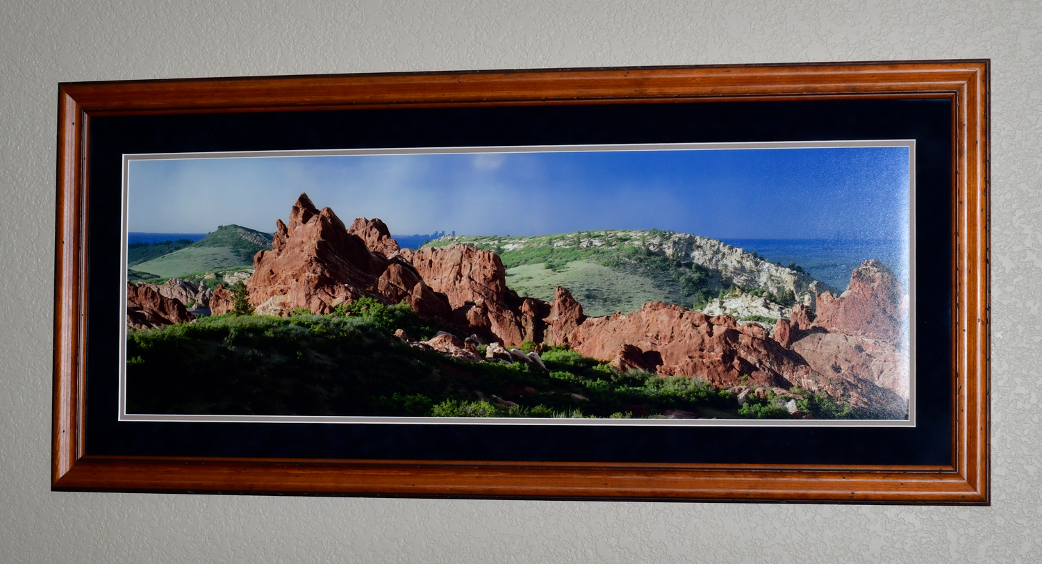 """The photo dimensions are 12""""X36"""". The frame dimensions are 19""""X43""""."""